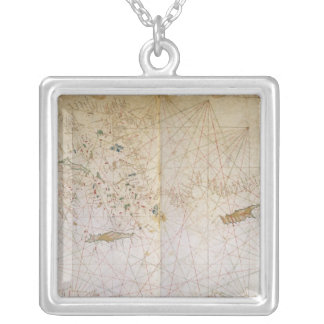 Map of the Eastern Mediterranean Silver Plated Necklace