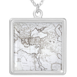 Map of the Eastern Part of the Roman Empire Silver Plated Necklace