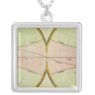 Map of the equater silver plated necklace