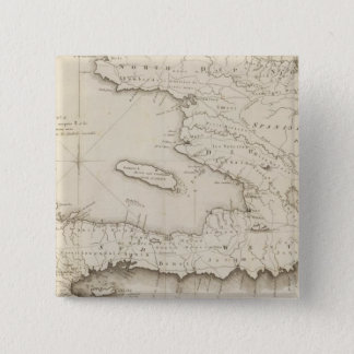 Map Of the French Part Of St Domingo 15 Cm Square Badge