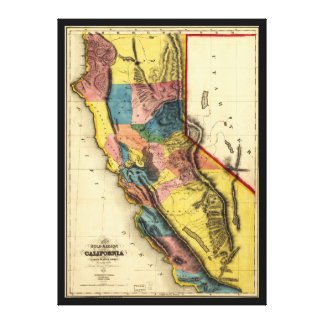 Map of the Gold Region in California (1851) Canvas Print