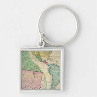 Map of the Gold Regions of California Silver-Colored Square Key Ring
