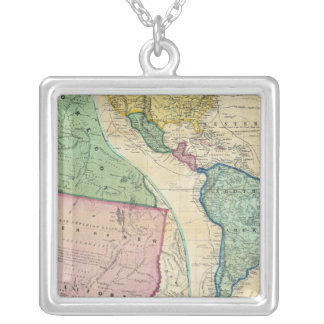 Map of the Gold Regions of California Silver Plated Necklace