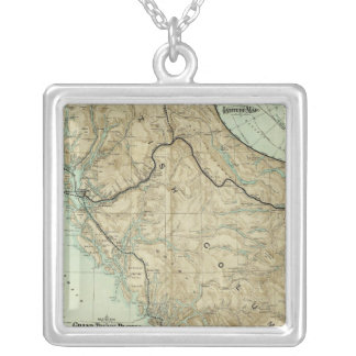Map Of The Grand Trunk Pacific Railway Silver Plated Necklace