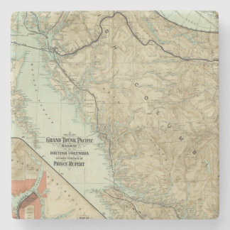 Map Of The Grand Trunk Pacific Railway Stone Beverage Coaster