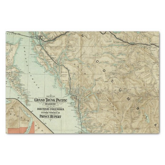 Map Of The Grand Trunk Pacific Railway Tissue