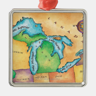 Map of the Great Lakes Christmas Ornament