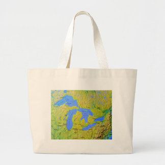 Map of The Great Lakes Design Large Tote Bag