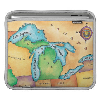 Map of the Great Lakes iPad Sleeve