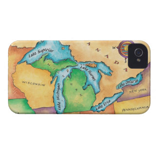 Map of the Great Lakes iPhone 4 Case-Mate Cases