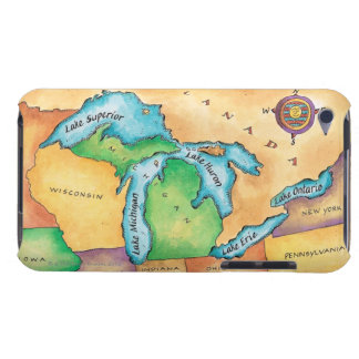 Map of the Great Lakes iPod Case-Mate Case