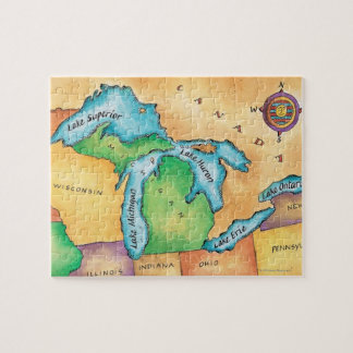 Map of the Great Lakes Jigsaw Puzzle