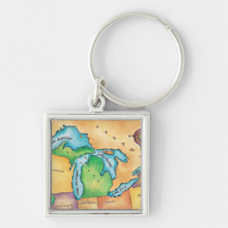 Map of the Great Lakes Key Ring