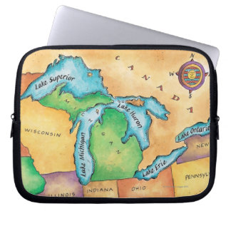 Map of the Great Lakes Laptop Sleeve