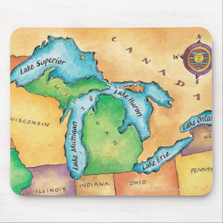 Map of the Great Lakes Mouse Mat