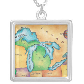 Map of the Great Lakes Silver Plated Necklace