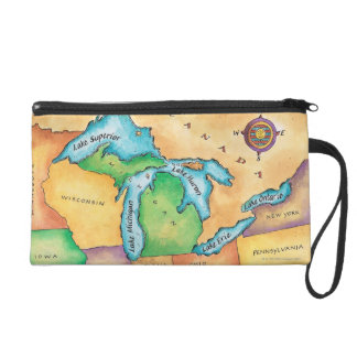 Map of the Great Lakes Wristlet Clutches