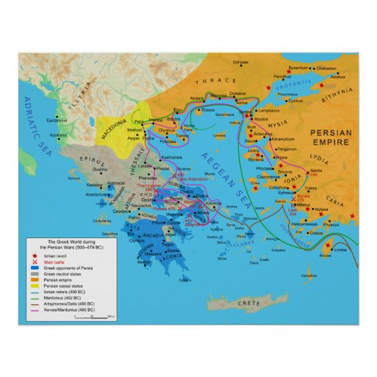 Map of the Greek World During Greco Persian Wars Poster