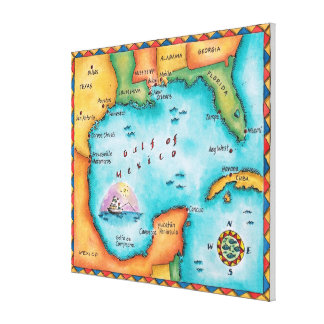 Map of the Gulf of Mexico Stretched Canvas Print