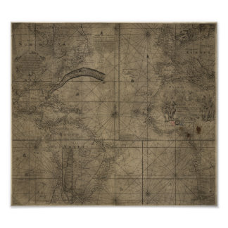 Map of the Gulf Stream and Antlantic Ocean 1768 Poster