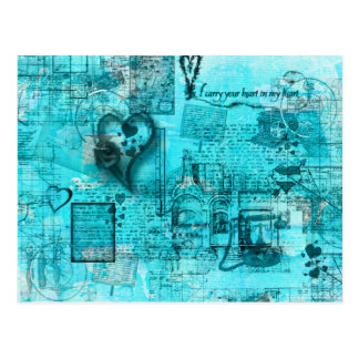 Map of the Heart (Turquoise) Postcard