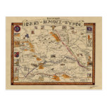 Map of the History and Romance of Wyoming Postcards