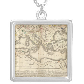 Map of the Incursions of the Barbarians Silver Plated Necklace