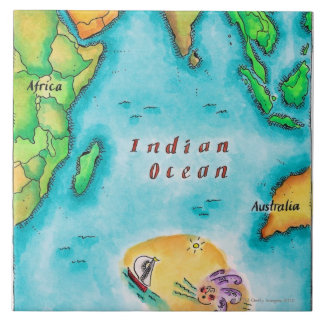 Map of the Indian Ocean Large Square Tile