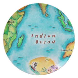 Map of the Indian Ocean Party Plate