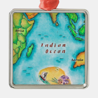 Map of the Indian Ocean Silver-Colored Square Decoration