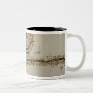 Map of the island of Santo Domingo Two-Tone Coffee Mug