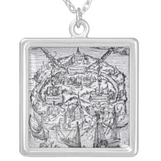 Map of the Island of Utopia, Book frontispiece Silver Plated Necklace
