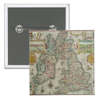 Map of the Kingdom of Great Britain and Ireland 15 Cm Square Badge