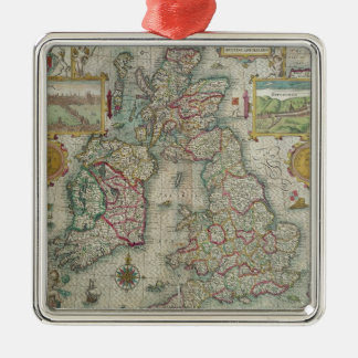 Map of the Kingdom of Great Britain and Ireland Silver-Colored Square Decoration