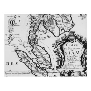 Map of the Kingdom of Siam Postcard