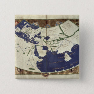 Map of the known world, from 'Geographia' 15 Cm Square Badge