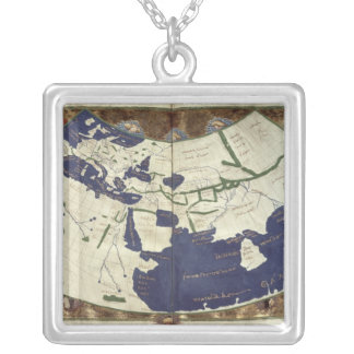 Map of the known world, from 'Geographia' Silver Plated Necklace