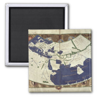 Map of the known world, from 'Geographia' Square Magnet