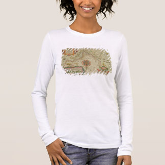 Map of the Magellan Straits, Patagonia, from the M Long Sleeve T-Shirt