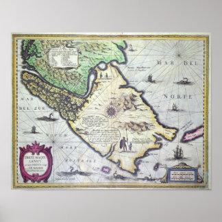 Map of the Magellan Straits, Patagonia Poster