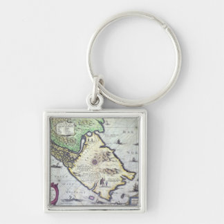 Map of the Magellan Straits, Patagonia Silver-Colored Square Key Ring