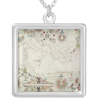Map of the Mediterranean, 1625 Silver Plated Necklace