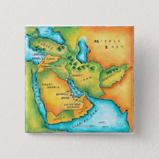 Map of the Middle East 15 Cm Square Badge