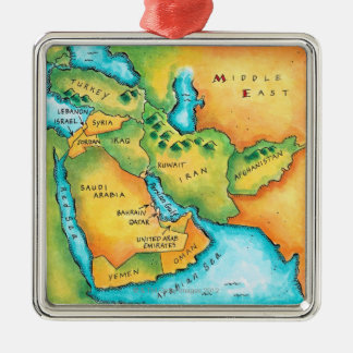 Map of the Middle East Christmas Ornament