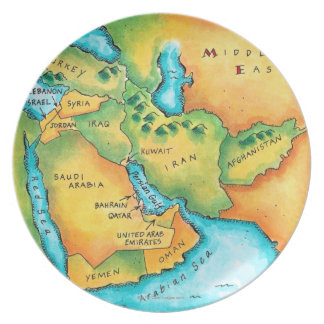 Map of the Middle East Dinner Plates
