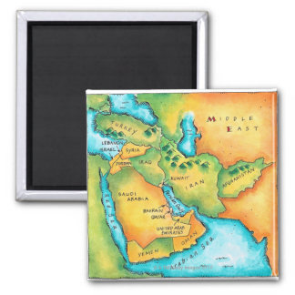 Map of the Middle East Refrigerator Magnets