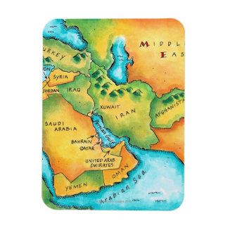 Map of the Middle East Rectangular Photo Magnet