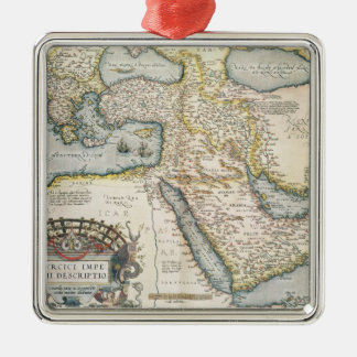 Map of the Middle East Silver-Colored Square Decoration