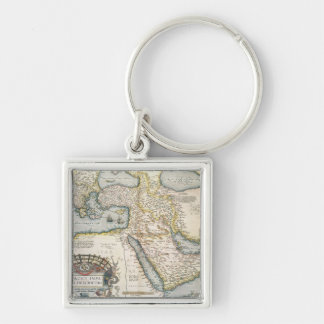 Map of the Middle East Silver-Colored Square Key Ring
