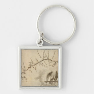 Map of the Mississippi River Silver-Colored Square Key Ring